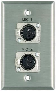 """Pro Co WPE102 Plateworks Single-Gang Stainless Steel Engraved Wall Plate with 2x Latching XLR-Fs: """"Mic 3"""" & """"Mic 4"""" WPE102"""