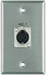 """Pro Co WPE111 Plateworks Single-Gang Stainless Steel Engraved Wall Plate with 1x XLR-F: """"Mic 3"""" WPE111"""