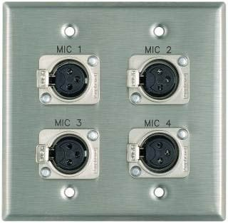 "Pro Co WPE203 Plateworks Dual-Gang Stainless Steel Engraved Wall Plate with 4x Latching XLR-Fs: ""Mic 9"", ""Mic 10"", ""Mic 11"", ""Mic 12"" WPE203"