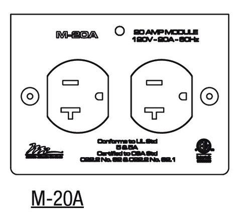 Middle Atlantic Products M-20A  20 Amp MPR Duplex Module M-20A