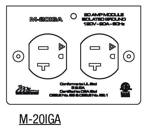 Middle Atlantic Products M-20IGA  20 Amp MPR Duplex Isolated Ground Module M-20IGA