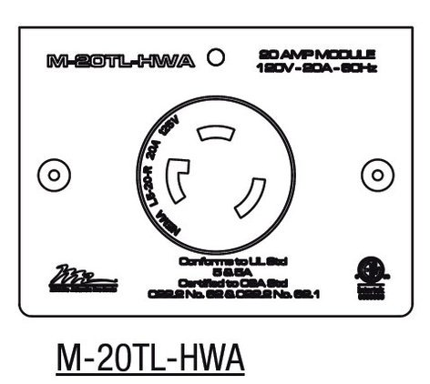 Middle Atlantic Products M-20TL-HWA  20 Amp MPR Twist Lock L5-20R (Hardwired Only) M-20TL-HWA