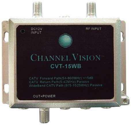 Channel Vision CVT-15WB  Channel Vision CVT-15WB 15dB RF Amplifier for Standard and Wide Bandwidth CATV Systems CVT-15WB