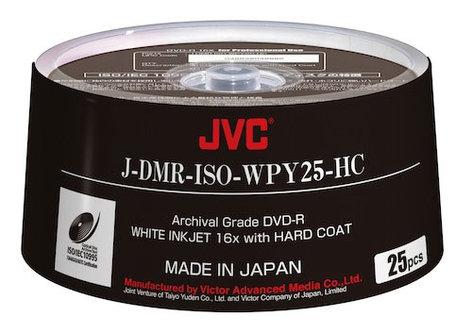 JVC JDMR-ISO-WPY25-HC  25-Pack of ISO Certified White Inkjet Printable Archival DVD-R Discs JDMR-ISO-WPY25-HC