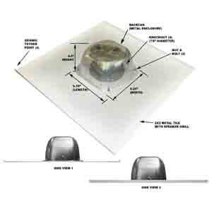 "OWI Incorporated 2X2IC6NA  6.5"", 8 Ohm, 2-Way Non-Amplified Drop Ceiling Speaker 2X2IC6NA"