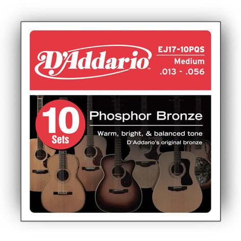 D`Addario EJ17-10P 10-Pack of Medium Phosphor Bronze Acoustic Guitar Strings EJ17-10P