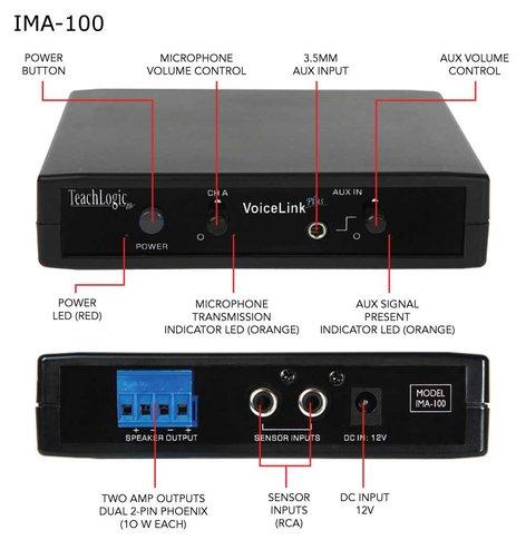 TeachLogic IMA-100  1Ch Infrared Receiver/Amp w/Power Supply IMA-100