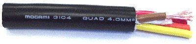 Mogami W3104-164-BLACK  Black 4 Conductor 11awg High Definition Speaker Cable (Per 164 Feet) W3104-164-BLACK