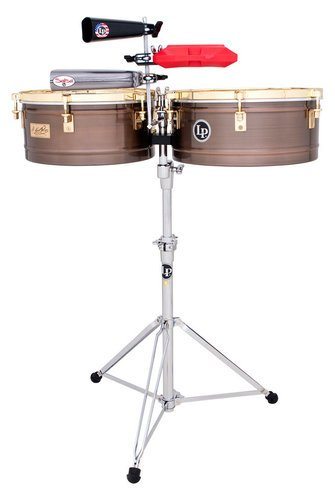 Latin Percussion LP257-KP Karl Perazzo Signature Series Timbales in Antique Bronze with Gold Hardware LP257-KP