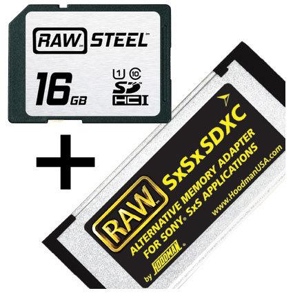 Hoodman Corporation SXSKIT16U1  RAW STEEL Adapter Kit, RAWSDHC16GBU1 10 &  SXS SXSKIT16U1