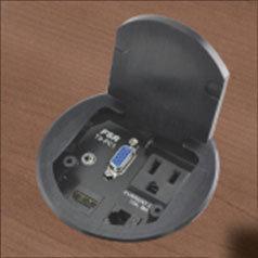 FSR, Inc T3-PC1D-BLK HDMI Round Table Box, Black T3-PC1D-BLK