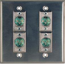 RapcoHorizon Music DP-4H3MP Two-Gang Wall Plate with 4x XLR-M Ports DP-4H3MP