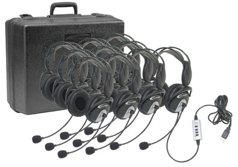 Califone International 4100-10  USB Stereo Headset, with Microphone, 10-Pack 4100-10