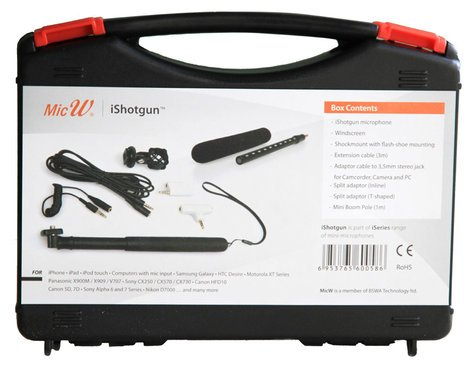 MicW iShotgun Kit Miniature Shotgun Microphone with Accessory Kit ISHOTGUN-KIT