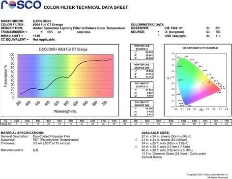 "Rosco E-COLOUR-204-SHEET E-Colour #204 21"" x 24"" Sheet of Full CT Orange Daylight Conversion Filter E-COLOUR-204-SHEET"