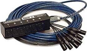 Whirlwind MS-6-M-NR-15-SS 6Ch Mini-6 Snake, Snakeskin, 6 XLR Inputs, No Returns, 15ft MS-6-M-NR-15-SS