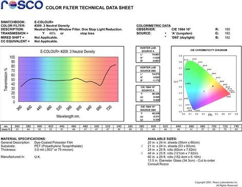 "Rosco Laboratories E-Colour #209 21"" x 24"" Sheet of .3 Neutral Density Filter E-COLOUR-209-SHEET"
