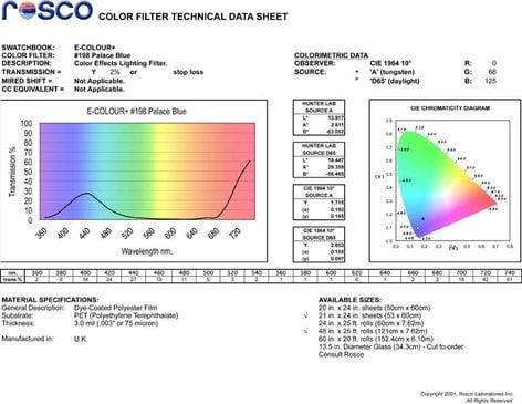 """Rosco E-COLOUR-198-SHEET E-Colour #198 21""""x24"""" Sheet of Palace Blue Color Filter E-COLOUR-198-SHEET"""