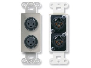 Radio Design Labs DS-XLR2F Dual 3-Pin XLR-F Jacks on Stainless Steel Decora Wall Plate DS-XLR2F