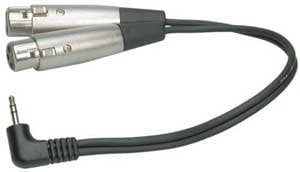 "Hosa CYX401F Audio Y-Cable, Right-Angle Stereo 1/8"" Male to Dual XLR Female, 1 ft CYX401F"