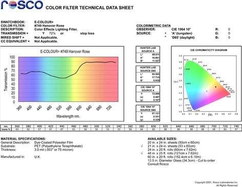 """Rosco Laboratories E-Colour #749 21"""" x 24"""" Sheet of Hanover Rose Color Filter E-COLOUR-749-SHEET"""