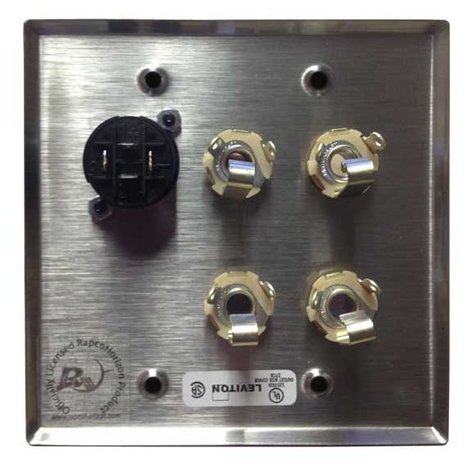 "RapcoHorizon Music DP4-11/NL4 Dual Gang with 4x 1/4"" and 1x Speakon Wall Plate DP4-11/NL4"