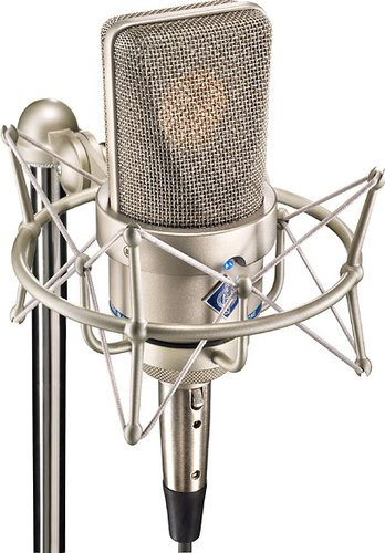 Neumann TLM 103 Anniversary ST Stereo Pair of Large Diaphragm Cardioid Microphones in Satin Nickel Finish with EA 1 Shockmounts & Aluminum Case TLM103-ANNIV-ST-NIC