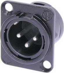 Neutrik NC3MD-L-BAG-1 3-Pin XLR Male Chassis Connector in Black with Solder Cups NC3MDL-BAG-1