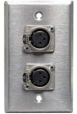 Rapco SP-2DFN  Single Gang Wall Plate with 2x Neutrik NC3FD-L-1 XLR-F Jacks SP-2DFN