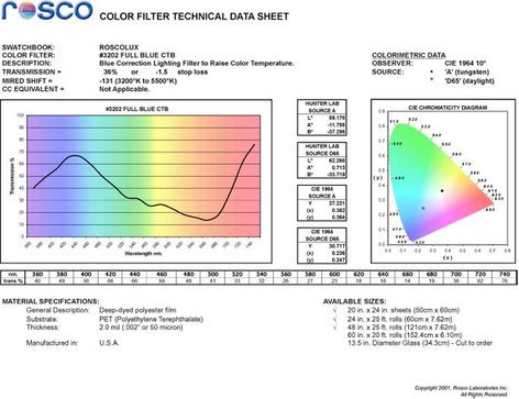 "Rosco Laboratories Roscolux #3202 20"" x 24"" Sheet of Full Blue CTB Filter 3202-2024"