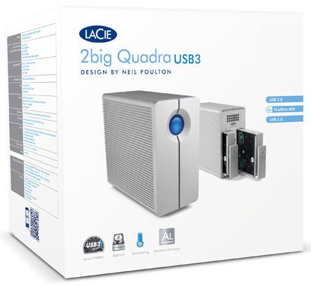 LaCie 2big Quadra USB 3.0 8TB Desktop Hard Drive 2-Bay RAID | USB 3.0 | FireWire 800 9000317