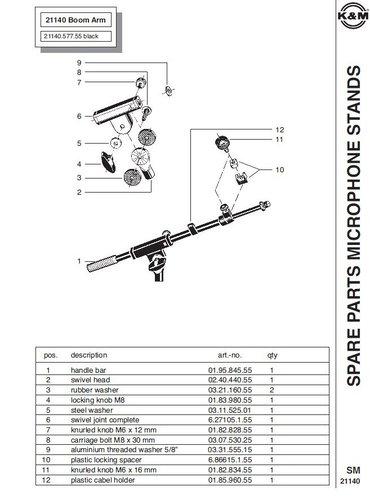 """K&M Stands 21140 Boom Arm, 2-piece Telescoping, 5/8"""" Thread 21140"""