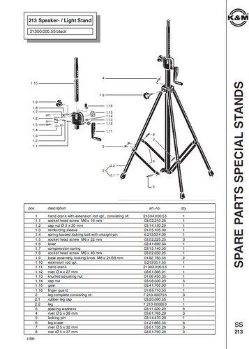 K&M Stands 213 Crank-Up Speaker Stand, 110 lb Capacity 213