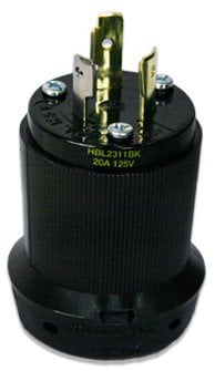 Lex Products Corp HBL2311BK Black 20 Amp 125 VAC NEMA L5-20 Male Twist Lock Plug HBL2311BK-LEX