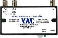 Video Accessory Corp 11-111-102  Video Distribution Amp, 1x2 UG 12vac BNC Connect 11-111-102