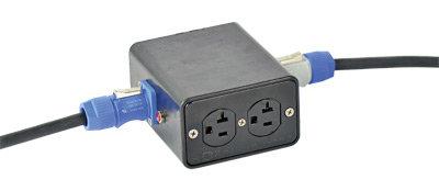 Lex DB20PC-SBPC 20 Amp Quad Box with PowerCON Input to Edisons, Feed Thru DB20PC-SBPC