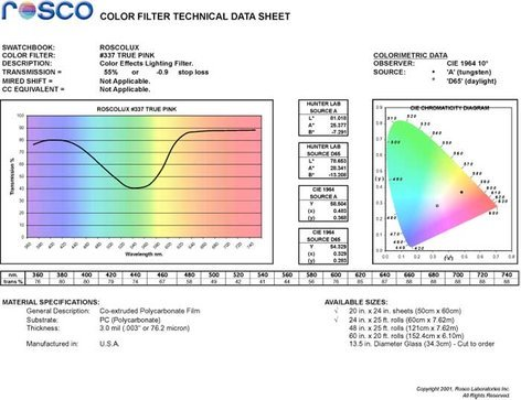 """Rosco 337 colux 20"""" x 24"""" Sheet of True Pink Color Filter 337"""