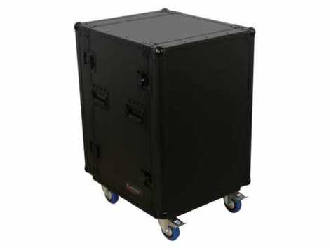 Odyssey FZAR16WBL 16RU Black Label Amp Rack Case with Wheels FZAR16WBL