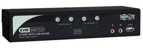 Tripp Lite B006-VUA4-K-R 4-Port KVM Switch with Audio, OSD and Peripheral Sharing B006-VUA4-K-R
