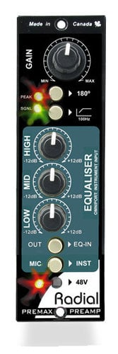 Radial Engineering PRE-MAX PreMax 500 Series Channel Strip Module with Microphone Preamp & 3-Band Equalizer PRE-MAX