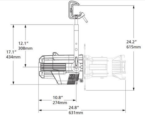 ETC/Elec Theatre Controls S4LEDL-0A Source Four LED Lustr+ in Black, Engine Body Only, Edison Connector S4LEDL-0-A
