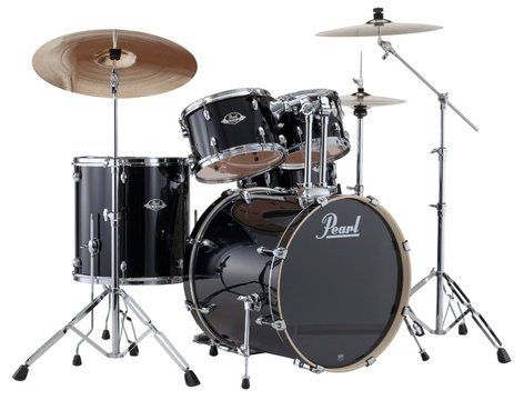 Pearl Drums EXX725S-31 EXX Export Series 5-Piece Drum Kit with Hardware in Jet Black Finish EXX725S-31