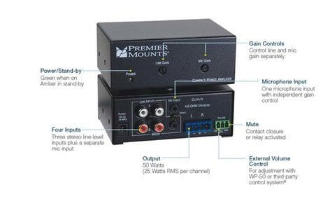 Premier Mounts CPA-50 50W Compact Power Amplifier CPA-50