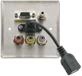 Kramer WAV-6UBA  Passive Wall Plate - 15-pin HD, 3.5mm Stereo Audio, USB & 3 RCA WAV-6UBA