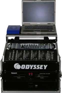 Odyssey FZGS1004BL Glide Style Combo Rack Case (10 RU Slanted, 4 RU Vertical, with Sliding Laptop Platform) FZGS1004BL