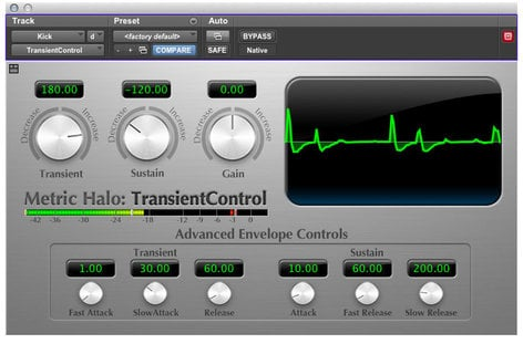 Metric Halo TransientControl Dynamics Processing Plug-in for Pro Tools™ 10 AAX (Electronic Delivery) TRANSCONAAX-1