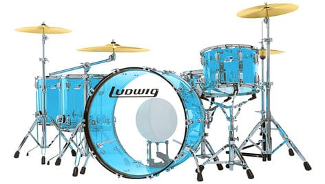 "Ludwig Drums L8264LX55 Vistalite ""Zep Set"" 5 Piece Shell Pack in Blue L8264LX55"