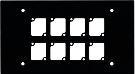 Ace Backstage WP408  4-Gang Wall Plate, with 8 Cutouts, Black WP408