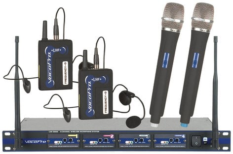 VocoPro UHF-5800-HB 4 Channel Wireless Handheld and Beltpack Microphone System UHF-5800-HB