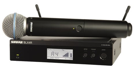 Shure BLX24R/B58-J10 Wireless Rackmount System with Beta 58A Handheld Microphone Transmitter, 584-608 MHz BLX24R/B58-J10